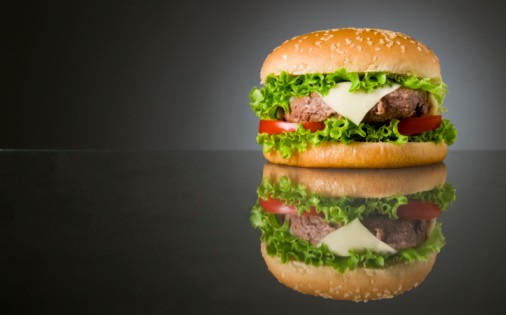 Big Fresh Delicious Homemade Hamburger With Reflection And Space For Text