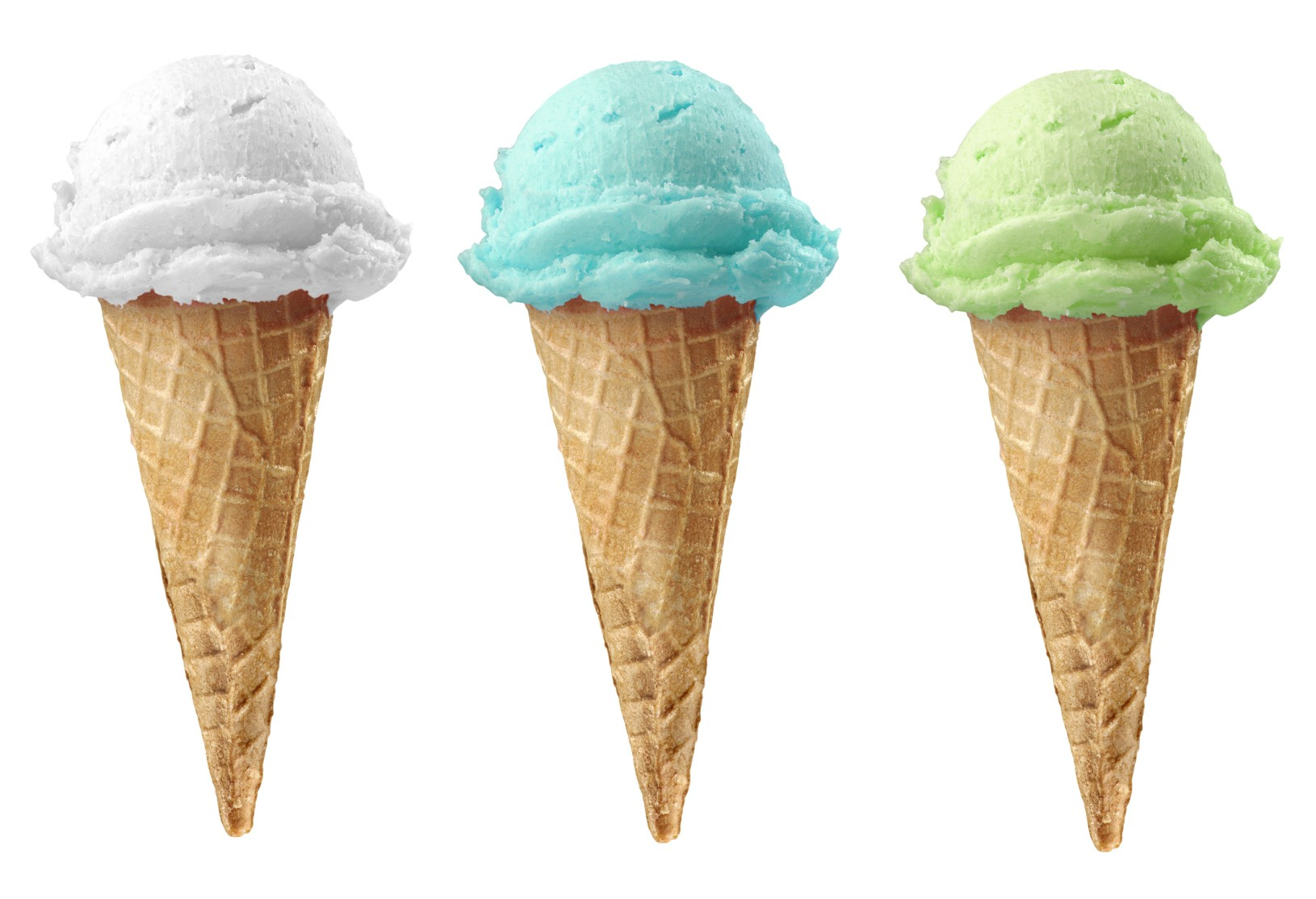 Six Ice Cream Cone Of 6 Different Flavors With Clipping Path